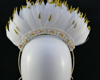 White and Gold Feather Crown