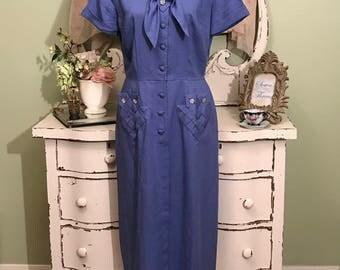 50s Blue Vintage Dress, Elegant, 1950s Dress, Sophisticated, LM, Short Sleeve Dress, Day to Evening Dress, Classy Dress, Pencil Dress