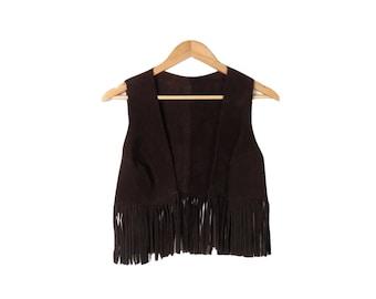 Vintage Brown Suede Fringe Vest Size S