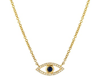 Diamond evil eye necklace, 14k solid gold, pave diamond evil eye