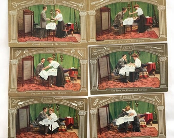 """Antique """"Courting"""" Postcards: Set of 6"""