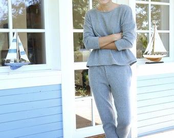 Merino Wool Sweater | Oversized Sweater | Wide Sweater | Grey Sweater | Wool Pullover |Women Blouse | Comfy Jumper | Home Jumper | Costume
