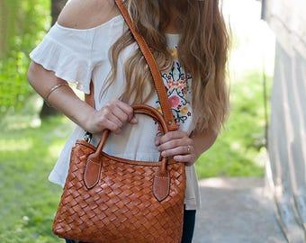 Leather purse crossbody - brown leather handbag - leather shoulder bag - small leather bag - leather crossbody bag - women leather bag