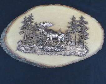 Yellowstone National Park Souvenir Wall Plaque Copper Colored 3D Moose and Trees on Log Round