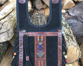 Festival Clothing / Navajo Bag, Native American, Tribal leather, Aztec, Cherokee / Leather shoulder holster / hip bag / cross body bags