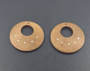 Round Wood Donut Beads with Rivets, top drilled, flat wood discs for earrings, pendants, set of 2, wood, sterling silver, wood bead pair
