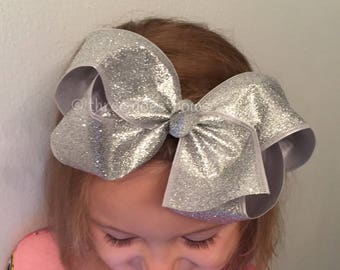XL Silver Hair Bow - Big Silver Hair Bow - Big Hair Bows - Big Hairbows - Silver Bow - Silver Bows