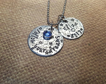 FOLLOW your DREAMS- Custom Hand stamped necklace with name and yr. GRADUATION. Stars