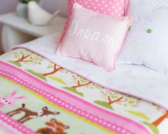 "Animal Doll bedding, 18"" doll bed bedding, woodland creature doll blanket, doll bed bedding, doll pillow, bunny bedding, Owl, deer, bunny"