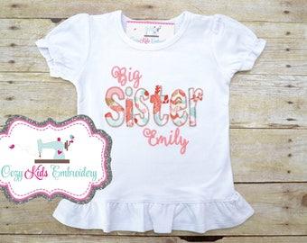Sister Shirt, Big Sis Shirt, Little Sister Shirt, Middle Sister Shirt, Personized Sister Shirt, Embroidery, Applique, Pregnancy Reveal Shirt