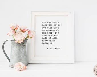CS Lewis Quote Print — Christian Printable Digital Wall Art Typewriter Quote Prints Black And White Minimalist Print INSTANT DOWNLOAD