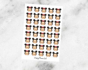 Tsum Tsum Minnie and Mickey Stickers (40 Glossy Stickers)