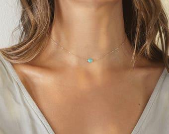 Turquoise Choker Necklace, Dainty Choker, Turquoise Choker, Delicate Necklace, Simple Necklace,Turquoise Necklace/Gold,Rose Gold,Silver/N182