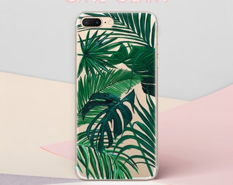 iPhone 7 Plus Case Tropical iPhone 8 Plus Case Clear Summer Phone Cases iPhone 7 Case Clear Tropical Print iPhone 6s S7 Case Palm CG1617