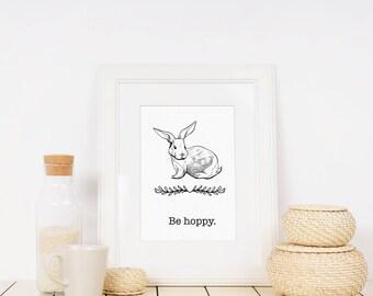 Farmhouse Printable - Funny Be Hoppy Wall Art - Rabbit Bunny Print - Black White Prints - Spring Poster - Minimalist Art - Kitchen Decor