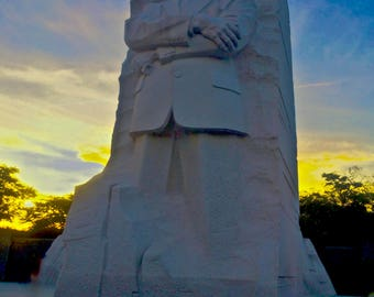 Gallery-wrapped art photograph of Martin Luther King, Jr. Memorial radiating at dusk. From the Monumental Men Series.