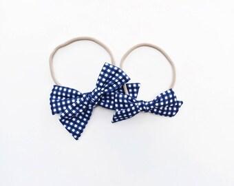 Navy Gingham | baby headband bows, baby hair clips, baby hair accessories, baby headband set, hair bows, newborn headband, blue baby bow
