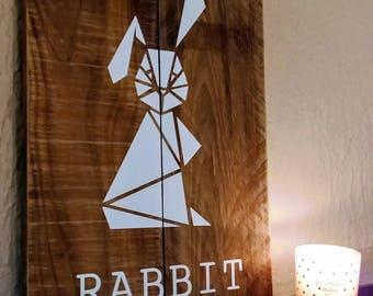 Geometric painting, animal painting, painting wood, rabbit, rabbit, origami wall decor