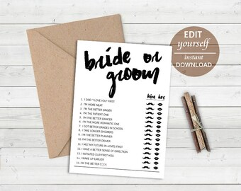 Editable Bride or Groom Game: He Said She Said Game, Bridal Shower Games, Bachelorette Games, Who Said Printable Wedding Game Editable Game