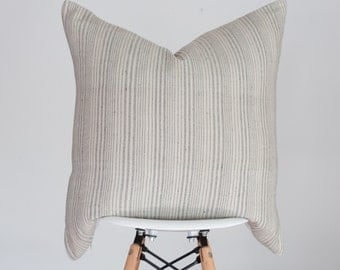 20 x 20 Cream Stripe Handwoven Pillow Cover from India, Boho Pillow Cover, Nursery Pillow Cover