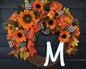 Fall Wreath/ Thanksgiving Wreath/ Autumn Wreath/ Front Door Wreath/ Country Wreath/ Farmhouse Wreath/ Harvest Wreath/ Monogram Wreath