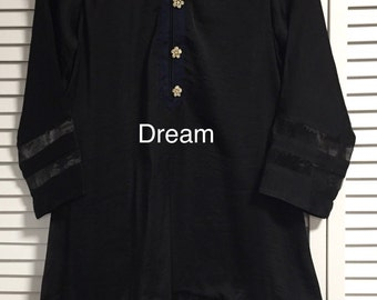Kurti Silk Party Wear Kameez Custom Size: Bust 36 - 38