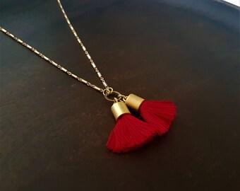 Tassel necklace, short necklace, red tassel necklace, boho necklace, handmade jewellery, gift for her