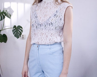 turtleneck lace top vintage white minimal see through festival boho bohemian 90's 70's