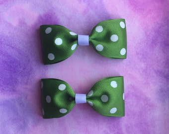 Set Of Two Green With White Polka Dot Hair Bows