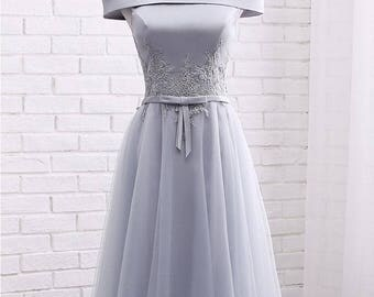 Short Grey Bridesmaid Lace Dress, GreyBridesmaid Dress, Off Shoulder, Cocktail Dress, Party Dress, Prom Dress, Knee Length, Formal Dress