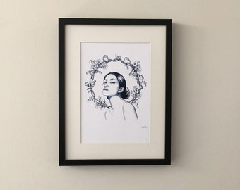 Porcelain Girl, print of beautiful portrait drawing