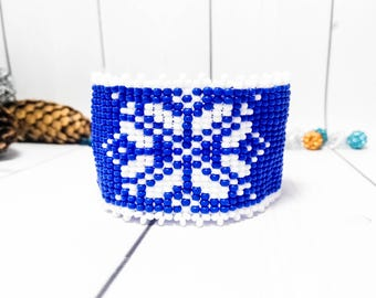 Blue ethnic bracelet Jewelry women Clothing gift New year Beaded Blue gift Beadwork bracelet Beaded Women cuff Blue ethnic