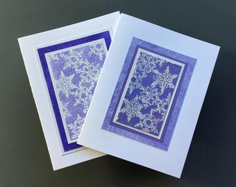 Snowfall on amethyst embossed blank cards (set of 2), individually handmade: A2, winter, SKU BLA21039