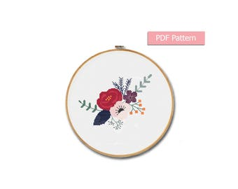 Flowers cross stitch pattern Modern cross stitch Floral embroidery pattern Flowers wall decor Flower room decor Flower Pdf pattern Hoop art