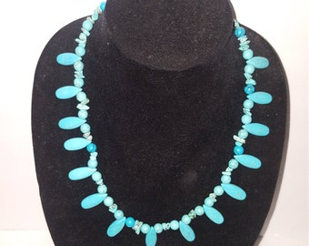 Blue Hemlite and turquoise piece