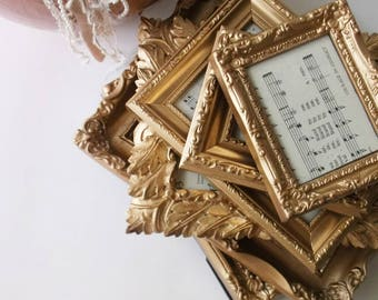 French Shabby Chic Gold Painted Frames. Victorian Romance Wedding Picture Frames. Ornate Frame Mix. Tabletop w Easels . Set of 6 Frames