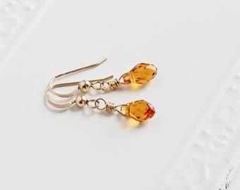 Tiny Topaz Crystal Dangle Earrings on 14K Gold Filled Hooks (Swarovski Elements)
