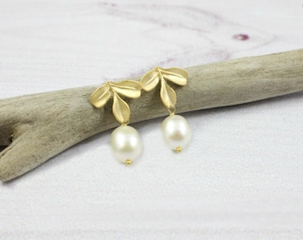Leaf Earrings, Leaves Earrings, Dainty Earrings, Stud Leaf Earrings, Gold Earrings, Delicate Earrings, Pearl Earrings, Leaf Jewelry, Drop