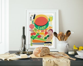Chef At Work Art Print, Kitchen Decor, Food Illustration, Cafe Wall Art, Gift for Foodie, Housewarming Gift, Gift For Cook, Fun Hostess Gift