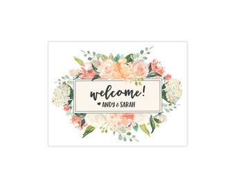 Floral Welcome Bag Stickers / Watercolor Floral / Hotel Welcome Bags / Wedding Sticker / Personalized Sticker / Rustic Floral / Welcome Box
