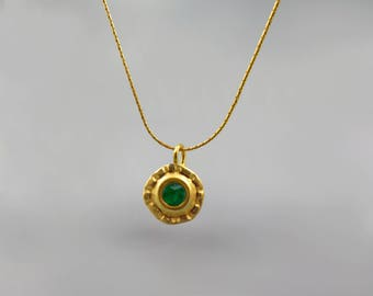 Emerald Pendant Necklace Gold Plated 24 K, Genuine Green Emerald Necklace, May Birthstone, Round Large Pendant, Emerald Gemstone Jewelry