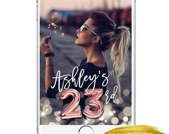 Birthday Snapchat Geofilter, Balloon Numbers Sparkly Gold Rosegold Birthday 21st, 23rd, Club Party Snapchat Geotag Confetti Gold Cute