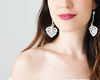 Off White Lace Earrings Dangle Earrings Long Earrings Boho Chic Elegant Earrings Bridal Earrings Bridal Jewelry Gift For Her / CIEGA