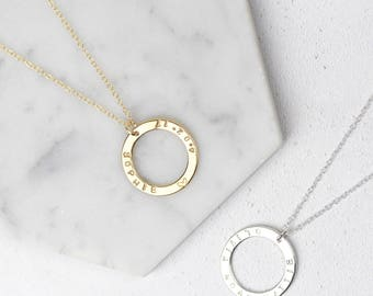 Personalised Circle Necklace • Name Necklace • Circle Pendant • Sterling Silver Personalised Necklace • Engraved Name • Custom Name Necklace