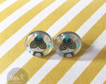 Hand drawn shrink plastic jewelry - LITTLE K The Missing Cats Stud Earrings {Ready to Dispatch}