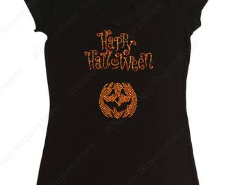 "Women's Rhinestone T-Shirt with ""Happy Halloween with Pumpkin"" in S, M, L, 1x, 2x, 3x"