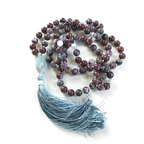 Red Lightning Agate Mala Beads, 108 Beads Mala With Aquamarine, Mala Beads For Mental Concentration, Sari Silk Tassel Mala, Knotted Mala