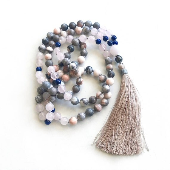 Friendship Mala, Lapis Lazuli And Jasper Mala Beads, 108 Bead Mala, Mala Beads For Harmony, Yoga Meditation Beads, Gemstone Mala