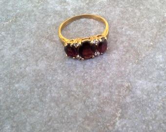 3-Stone Red Ring/Dark Red 3-Stone Ring/Dark Red and Gold Ring/Dark Red Ring - Size 9/Red Size 9 Ring/3-Stone Dark Red Ring-Size 9