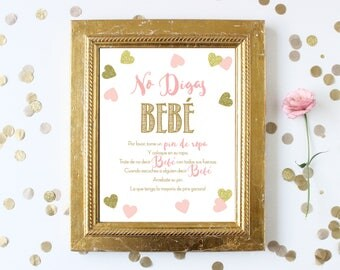 Spanish Don't Say Baby 8x10 Sign . Pink and Gold Baby Shower Game Printable . Girl Baby Shower Game . Pink and Gold Glitter Girl Shower